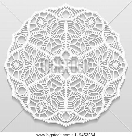 Lacy paper doily decorative flower decorative snowflake mandala embossed pattern arabic ornamentindi
