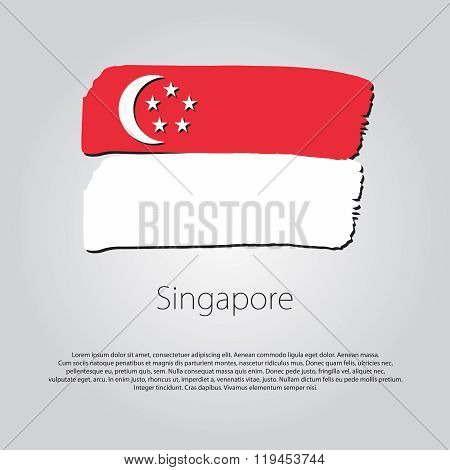 Singapore Flag With Colored Hand Drawn Lines In Vector Format