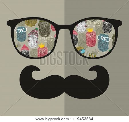 Abstract portrait of man in sunglasses and with moustache.