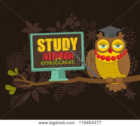 Clever owl on the tree with computer.