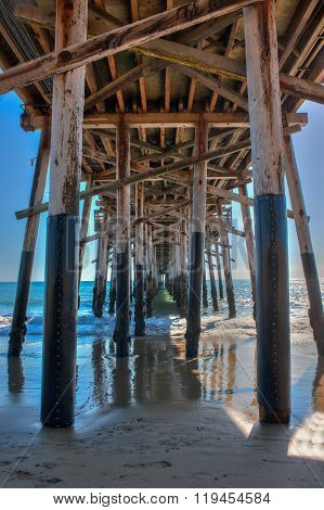 Wooden construction of Balboa Pier