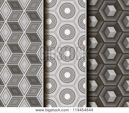 3 different vector seamless patterns. Geometric different 3D shape.