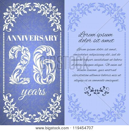 Luxury Template With Floral Frame And A Decorative Pattern For The 26 Years Anniversary. There Is A