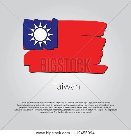 Taiwan Flag With Colored Hand Drawn Lines In Vector Format