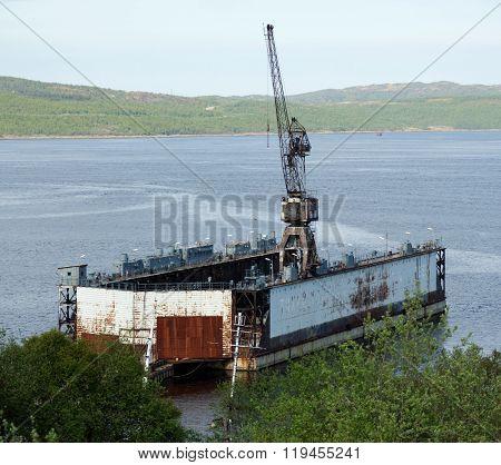 MURMANSK, Russia - June 11, 2012, Floating Dock in the Kola Bay, Murmansk