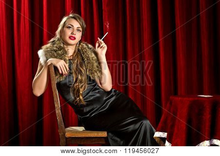 a dame with a cigarette