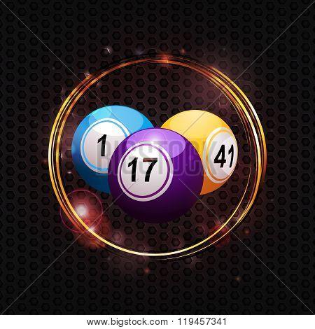 Bingo Balls Over Glowing Circle Background