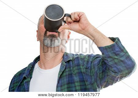 Man Taking Down The Last Drop Of Coffee