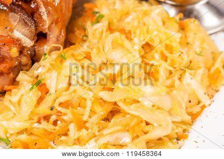 Delicious sauerkraut closeup.