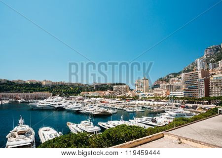 Yachts moored at town quay In Monaco, Monte Carlo