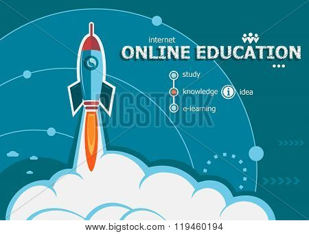 Online Education And Concept Background With Rocket.