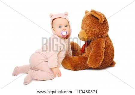 Cute Baby Playing With Big Teddy Bear On White Background
