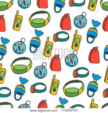 Seamless Pattern With Equipment For Kayaking