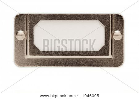Blank Metal File Label Frame Isolated on White Ready for Your Own Message.