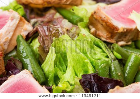 Classic nicoise salad closeup.