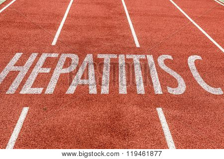 Hepatitis C written on running track