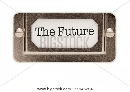 The Future File Drawer Label Isolated on a White Background.