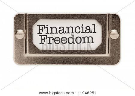 Financial Freedom File Drawer Label Isolated on a White Background.