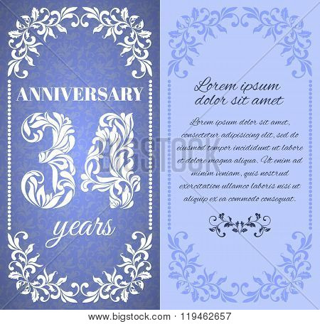 Luxury Template With Floral Frame And A Decorative Pattern For The 34 Years Anniversary. There Is A