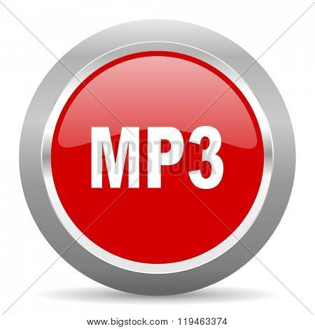 mp3 red chrome web circle glossy icon