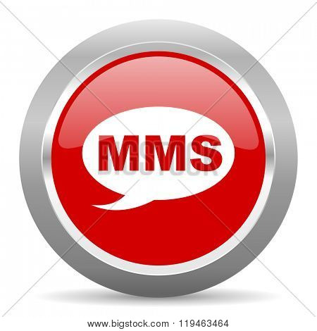 mms red chrome web circle glossy icon