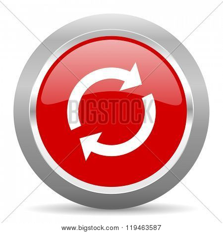 reload red chrome web circle glossy icon