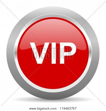 vip red chrome web circle glossy icon