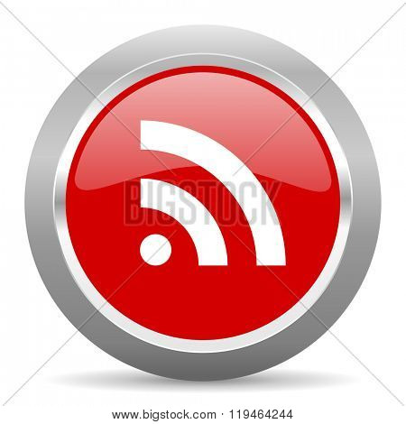 rss red chrome web circle glossy icon
