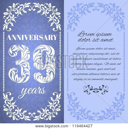 Luxury Template With Floral Frame And A Decorative Pattern For The 39 Years Anniversary. There Is A