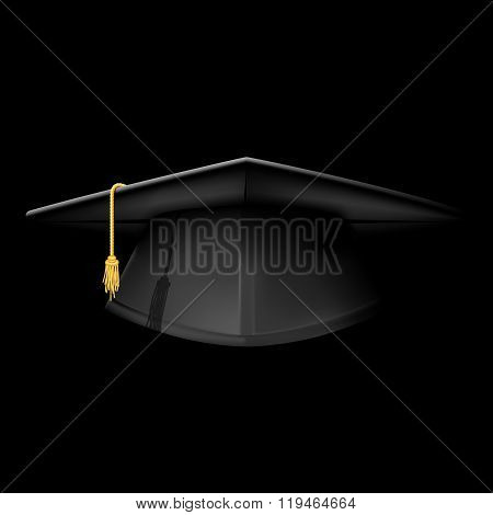 Black Graduation Cap - Mortarboard Hat On Black Background