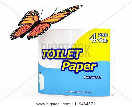 Butterfly Over Four Roll Of Toilet Paper Package