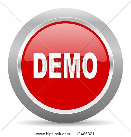 demo red chrome web circle glossy icon