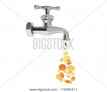 Golden Coin Coming Out From Chrome Water Tap