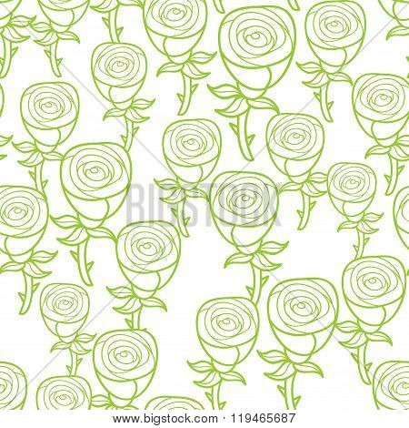 Ecological green pattern of roses.