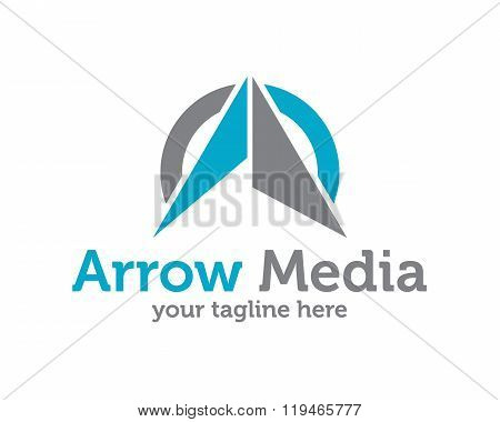 Arrow Up Business Creative Icon Logo Template. Abstract Letter A Logo With Circular Element Design V