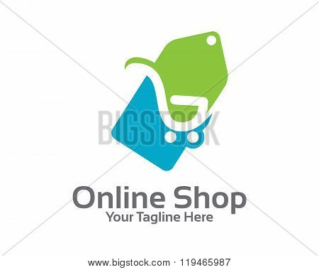 On-line Store Logo Design Vector. Shopping Cart And Price Tag Logo Design Concept. Price Tag Logo .