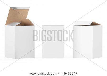 White Package Boxes on a white background. 3d Rendering
