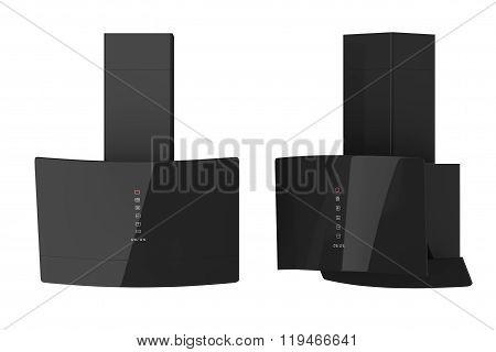 Modern Black Cooker Hoods. 3D Rendering