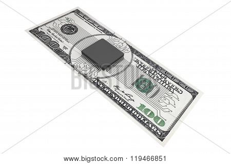 Digital Money Concept. Microchip With Circuit Over Dollars Bill