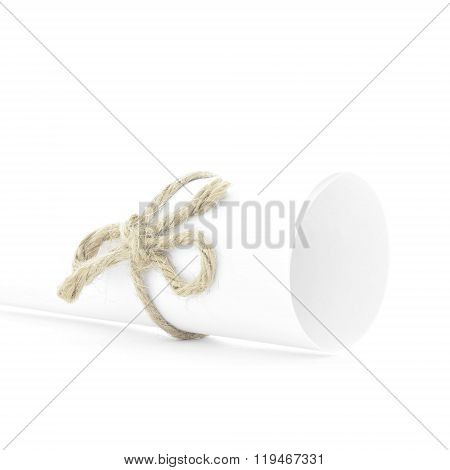 Handmade Natural Cord Bow Tied On White Paper Roll Isolated