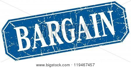 Bargain Blue Square Vintage Grunge Isolated Sign