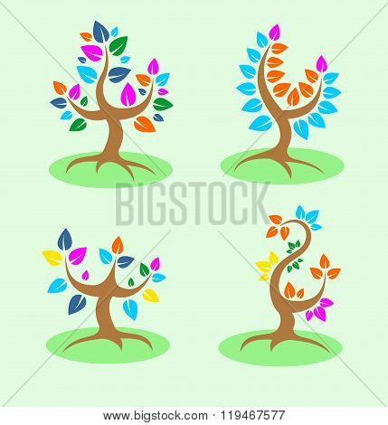 Four colorful tree