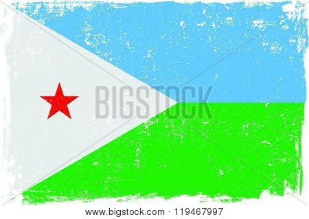 Djibouti vector grunge flag isolated on white background.