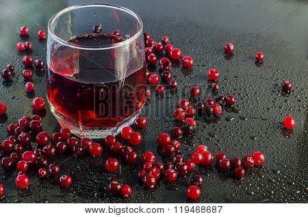 refreshing cranberry juice and cranberries