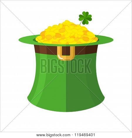 Leprechaun Hat And Gold. Green Hat Topper And Many Gold Coins. Fairy Treasure Leprechauns Little Dwa