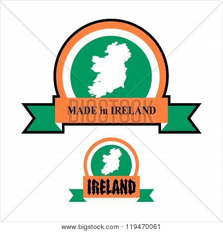 Made In Ireland. Logo For Product. Map Of Ireland And Ribbon With Colors Of Irish Flag. Label Templa