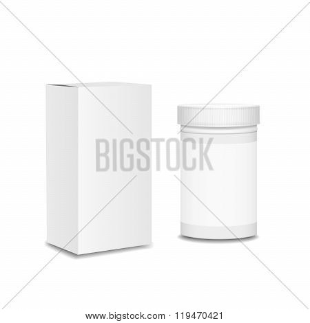 Blank medicine bottle. Package of drugs with package box for pills