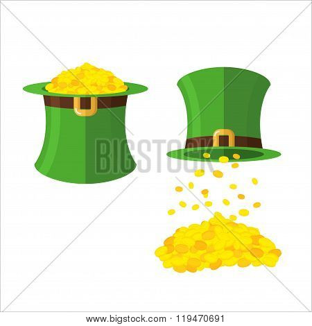 Hat And Gold Leprechaun Set. Gold Coins In Hat Top Hat. Magical Wealth Poured From  Green Dwarf Hats