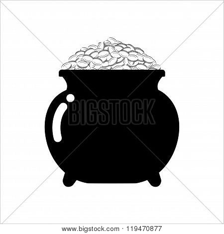 Pot Of Gold Icon On White Background. Isolated Treasures Leprechaun. Mythical Wealth.