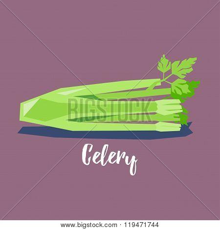 Celery cute vector icon / illustration